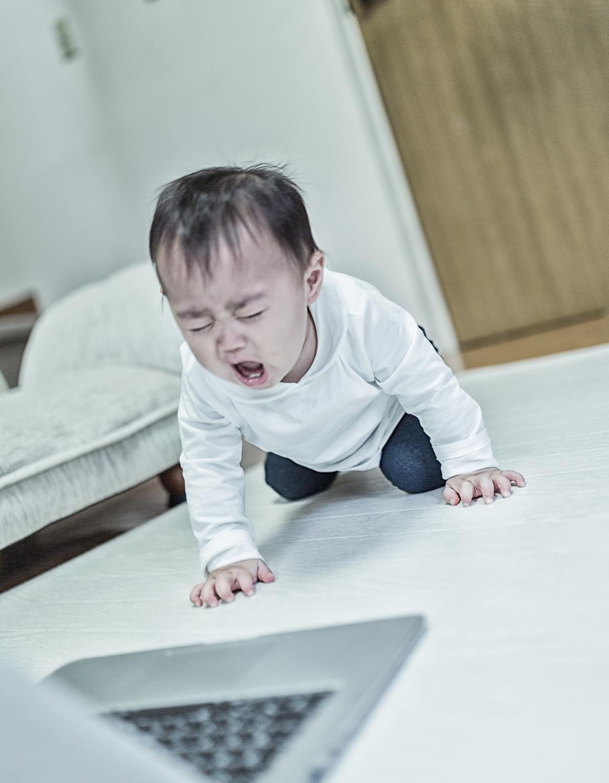 怒りのあまりノートPCの前で絶叫する赤ちゃん